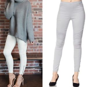 Pants - Gray Moto Leggings with Ankle Zipper